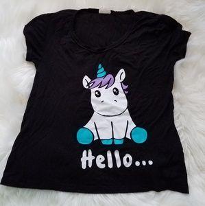 Hello Goodbye Unicorn Black Tshirt Cap Sleeves XS